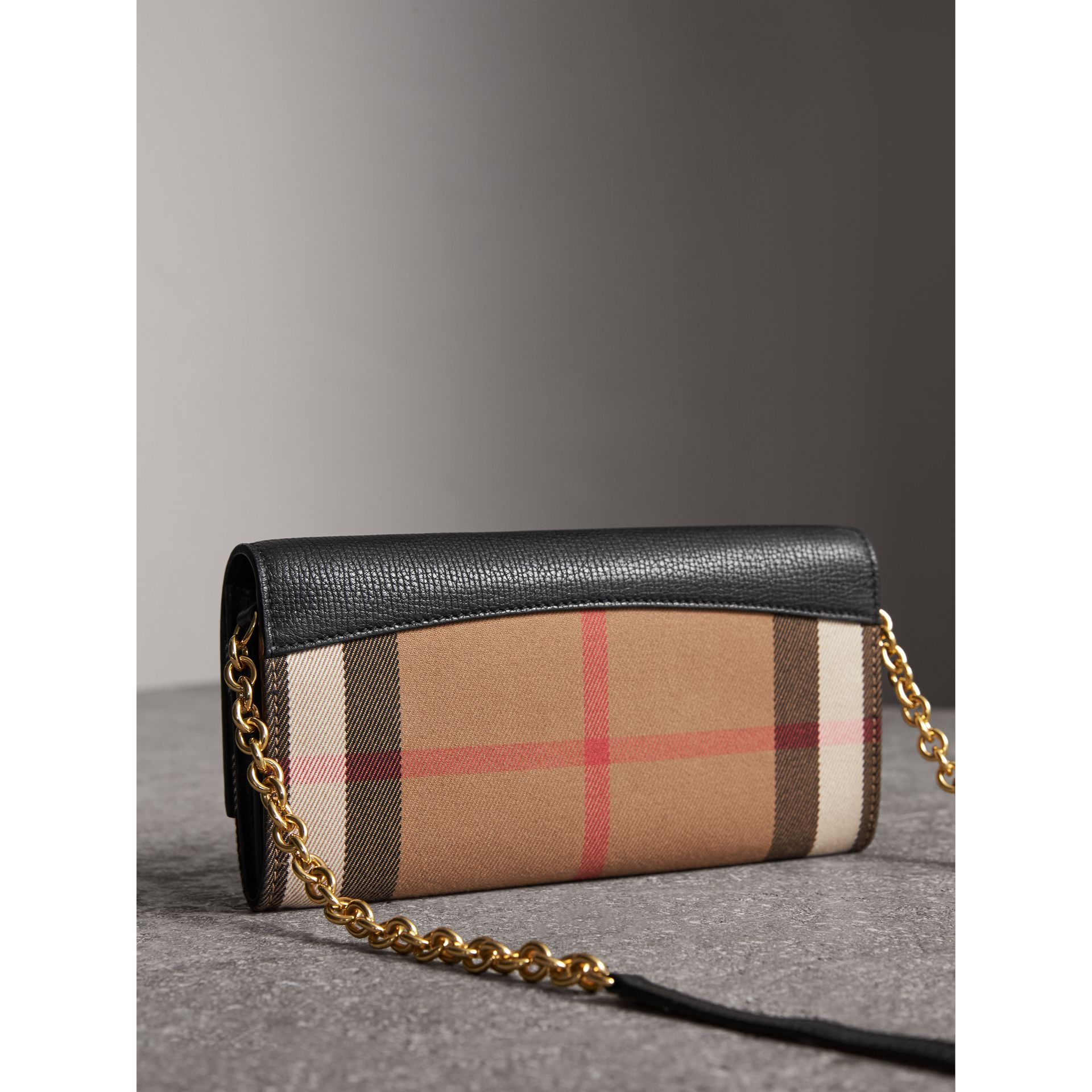 House Check and Leather Wallet with Chain in Black - Women | Burberry - gallery image 4