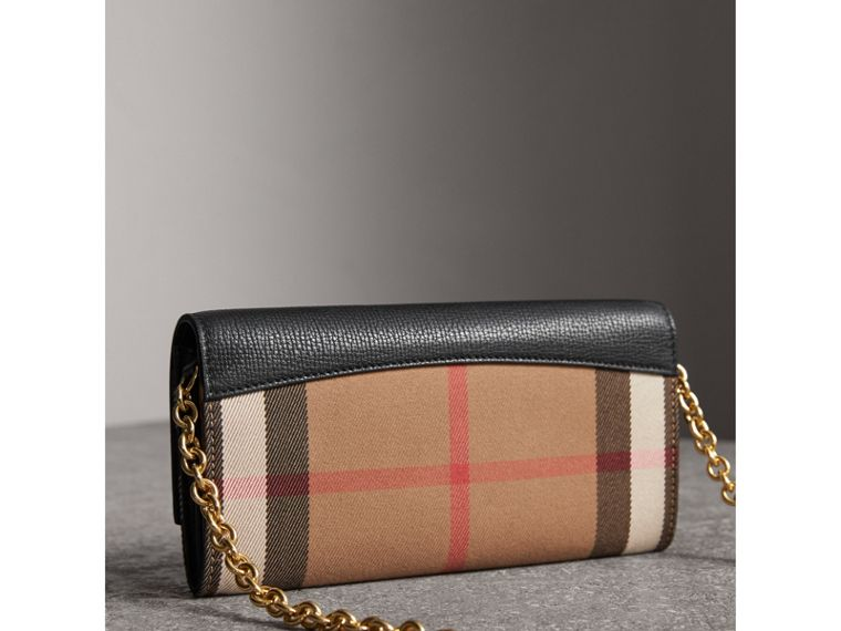 House Check and Leather Wallet with Chain in Black - Women | Burberry Australia - cell image 4