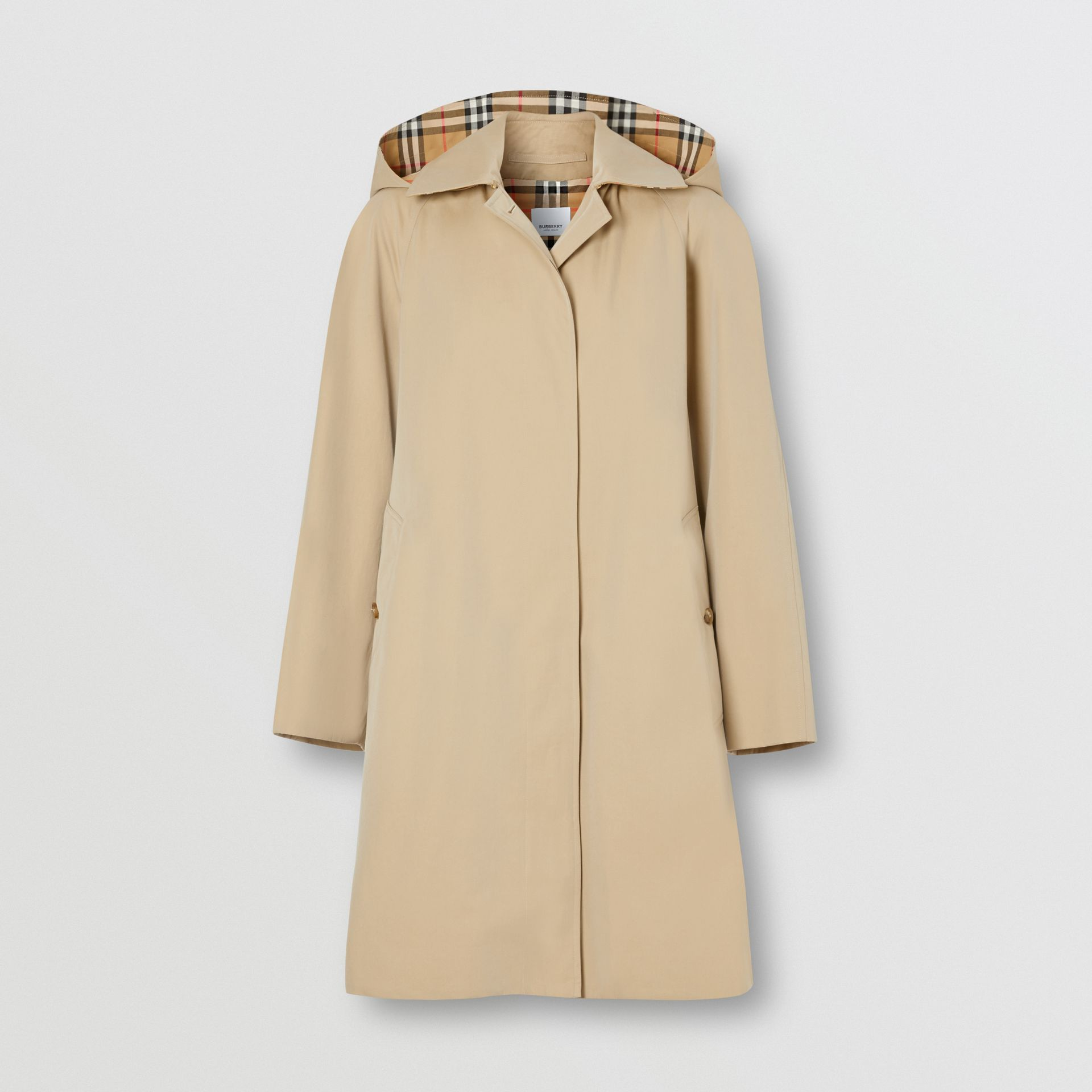 Detachable Hood Tropical Gabardine Swing Coat in Honey - Women | Burberry - gallery image 3