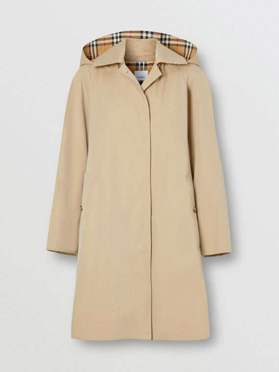 Detachable Hood Tropical Gabardine Swing Coat in Honey