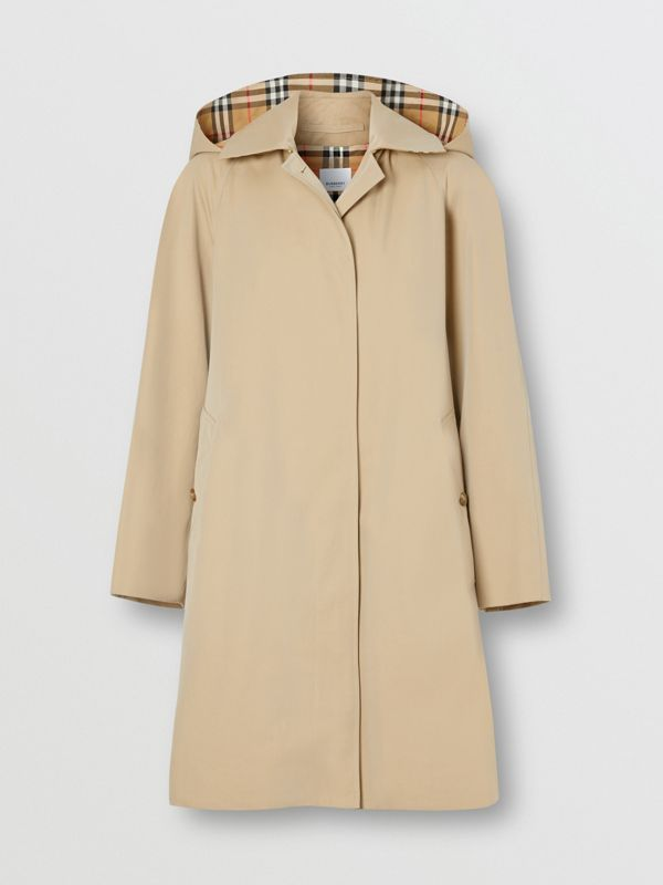 Detachable Hood Tropical Gabardine Swing Coat in Honey - Women | Burberry - cell image 3