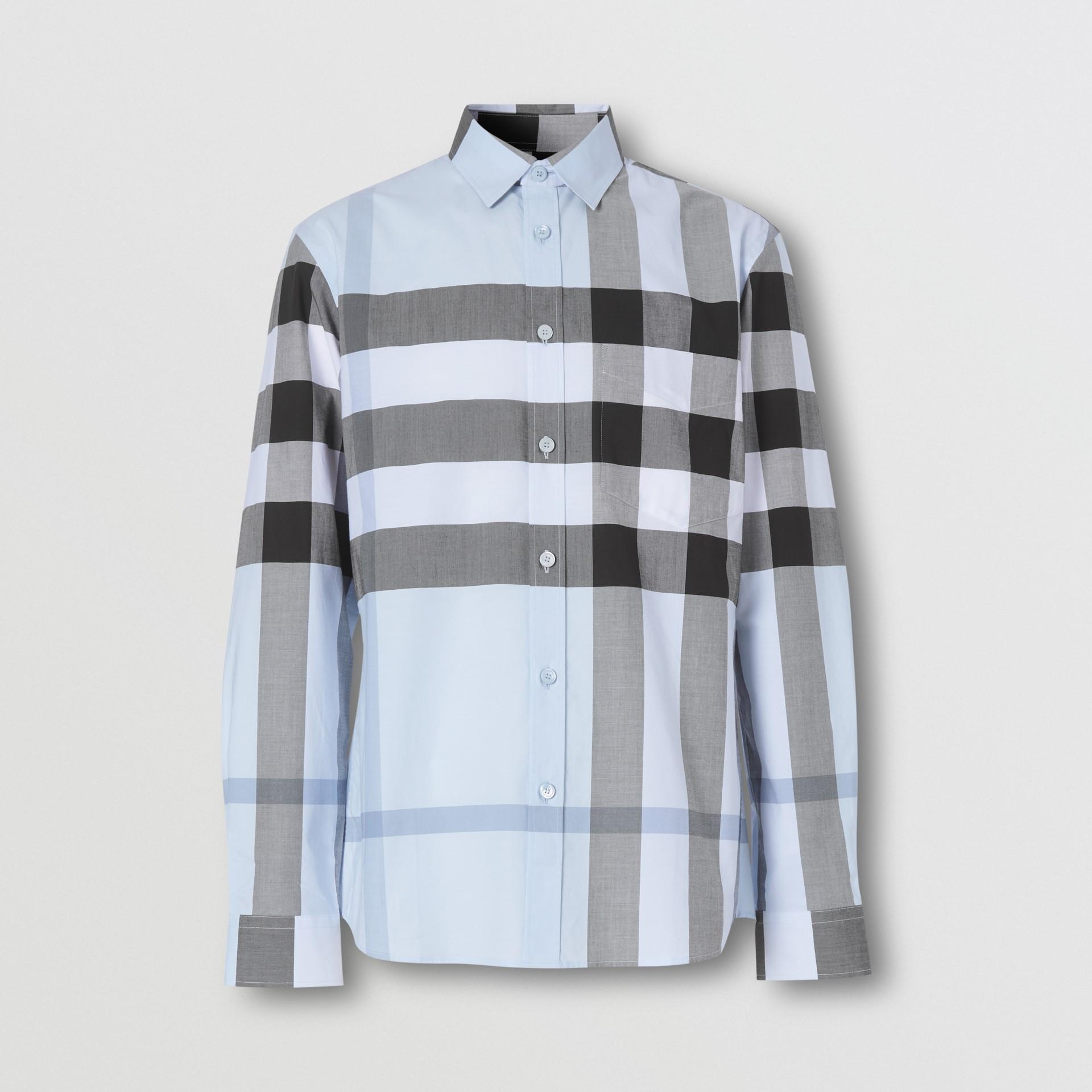 Check Stretch Cotton Poplin Shirt in Chalk Blue - Men | Burberry United Kingdom - gallery image 3