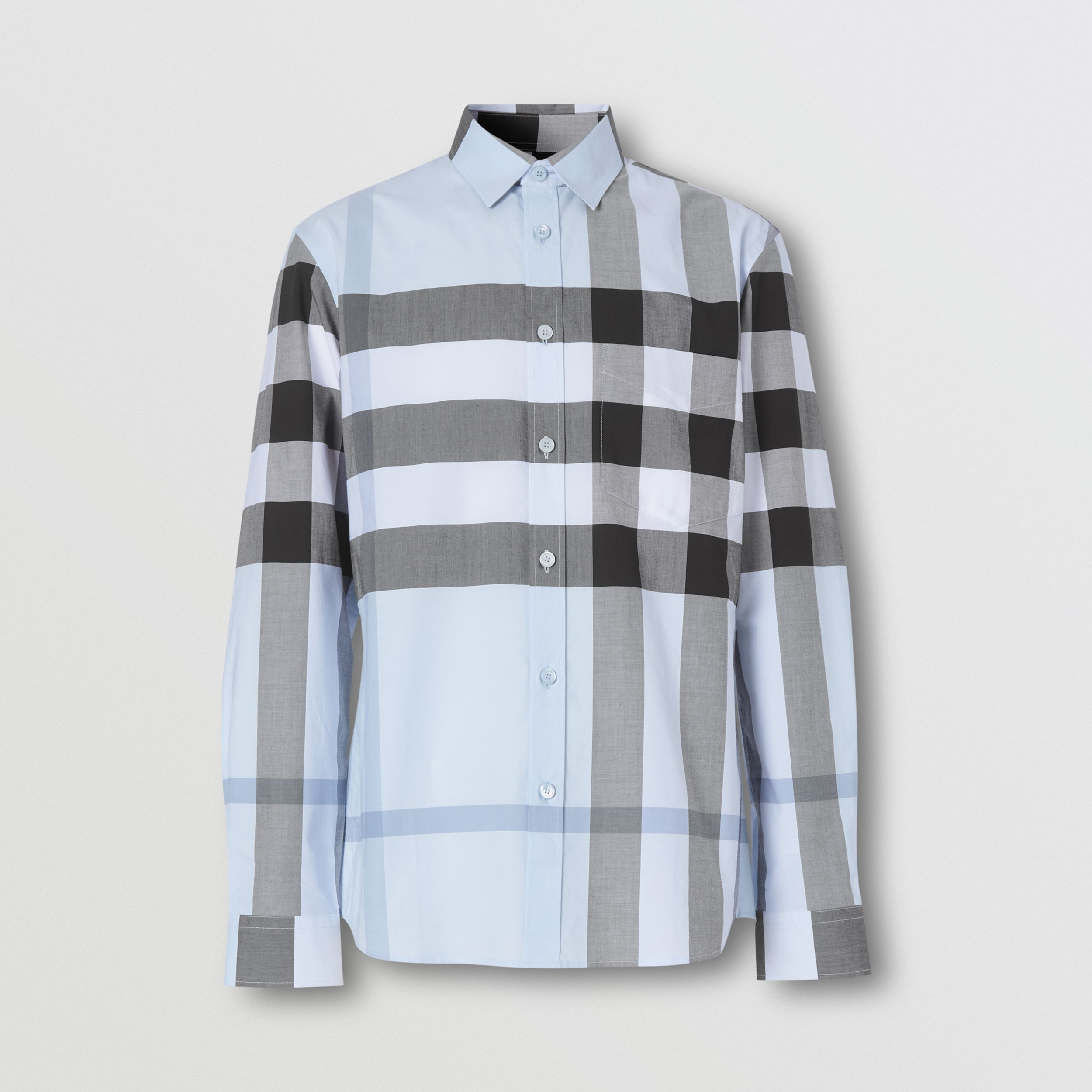 Check Stretch Cotton Poplin Shirt in Chalk Blue - Men | Burberry - 4