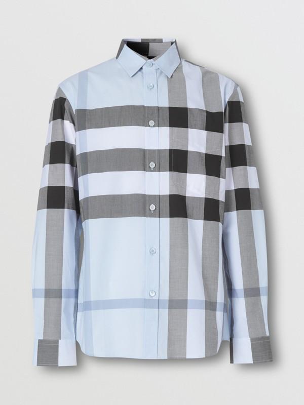 Check Stretch Cotton Poplin Shirt in Chalk Blue - Men | Burberry United Kingdom - cell image 3
