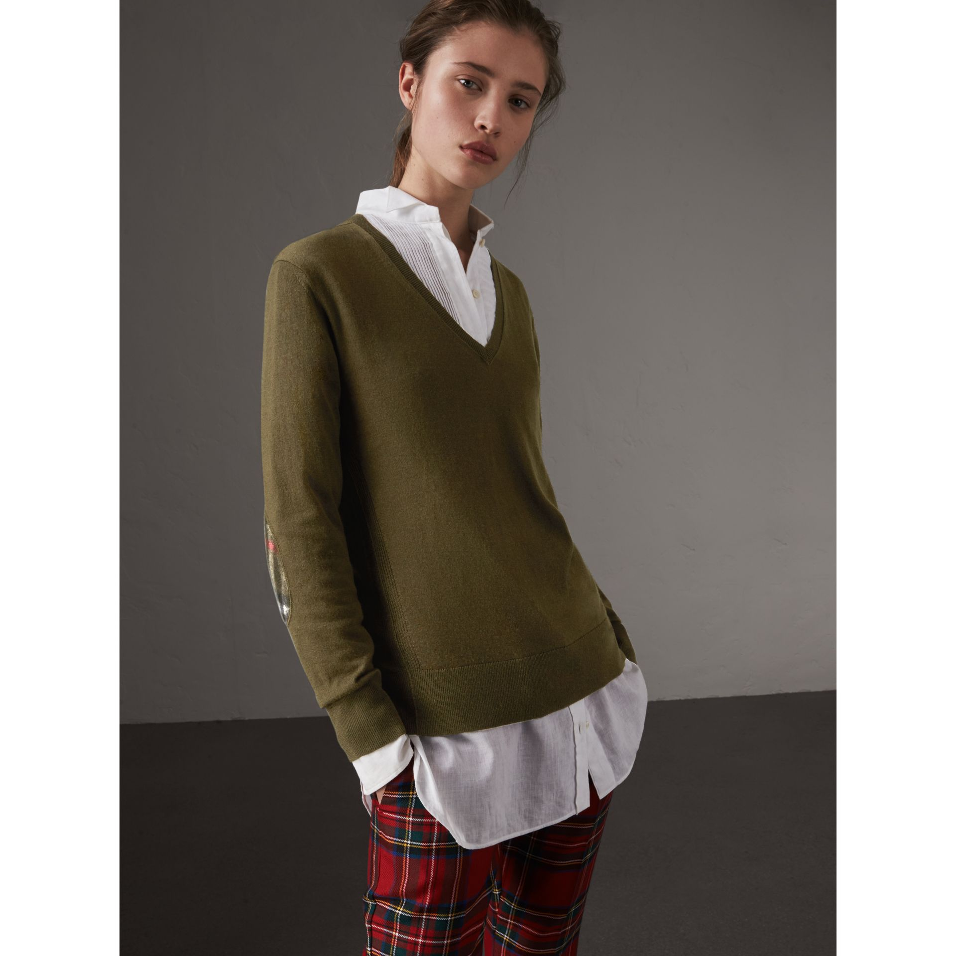 Check Detail Cashmere V-neck Sweater in Khaki Green - Women | Burberry - gallery image 1