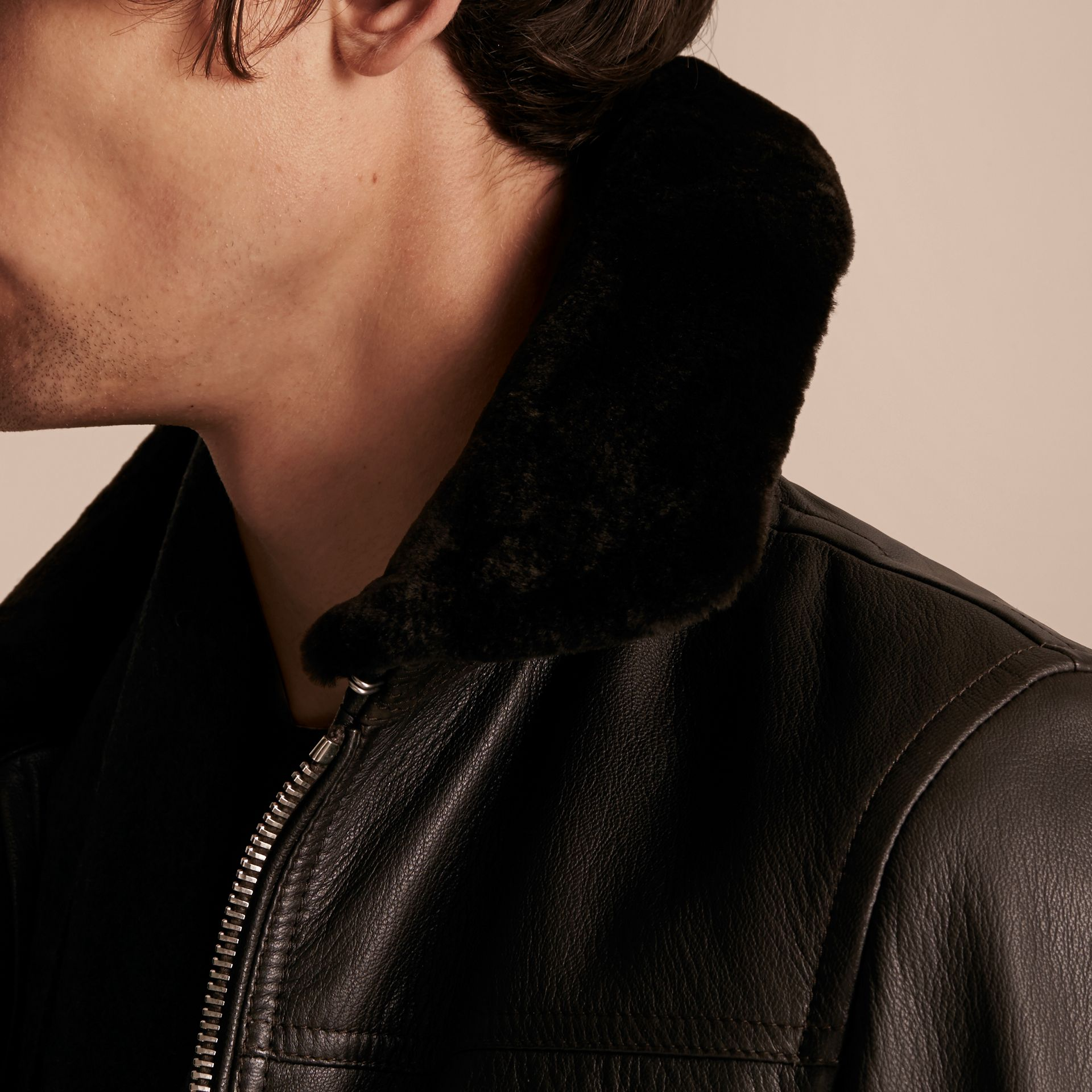 Dark brown Textured Leather Jacket with Detachable Mink Collar - gallery image 6