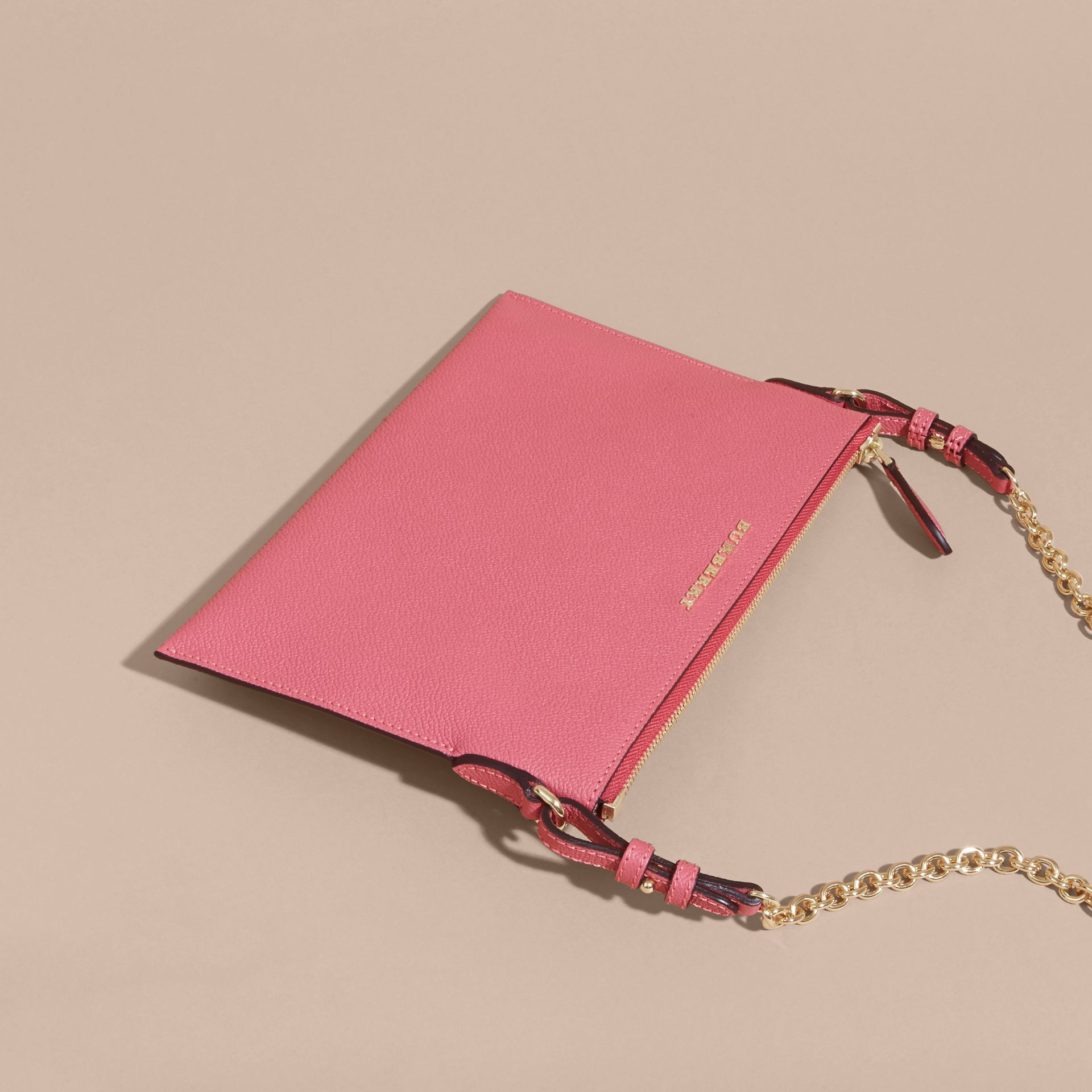 Leather Clutch Bag with Check Lining Pink Azalea - gallery image 8