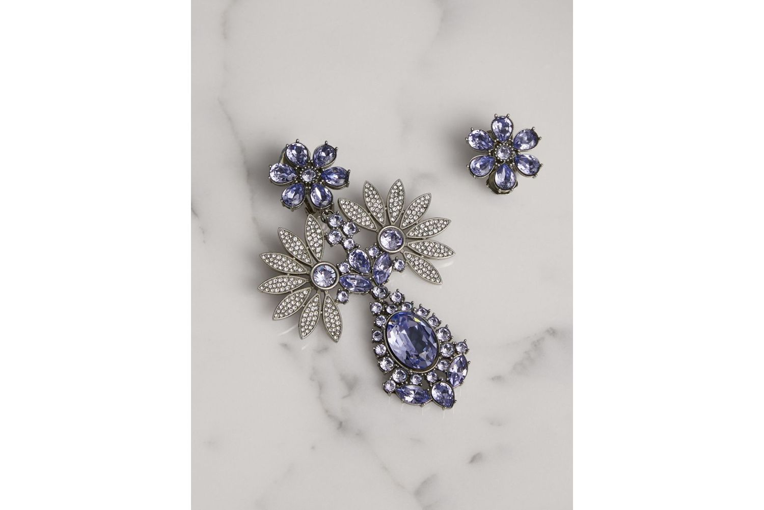 Crystal Double-daisy Drop Earring and Stud Set in Lavender Blue