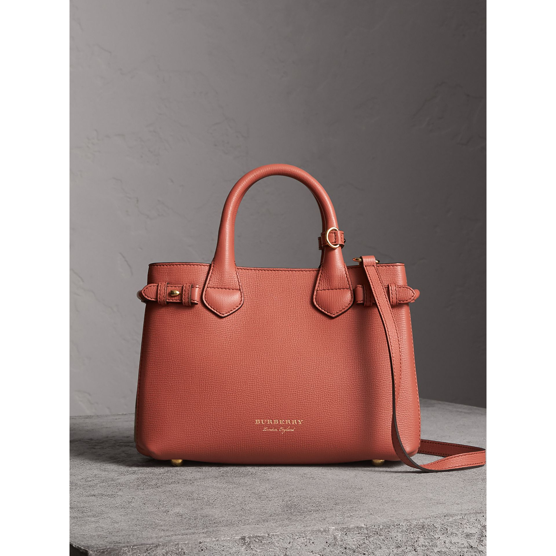 The Small Banner in Leather and House Check in Cinnamon Red - Women | Burberry - gallery image 7