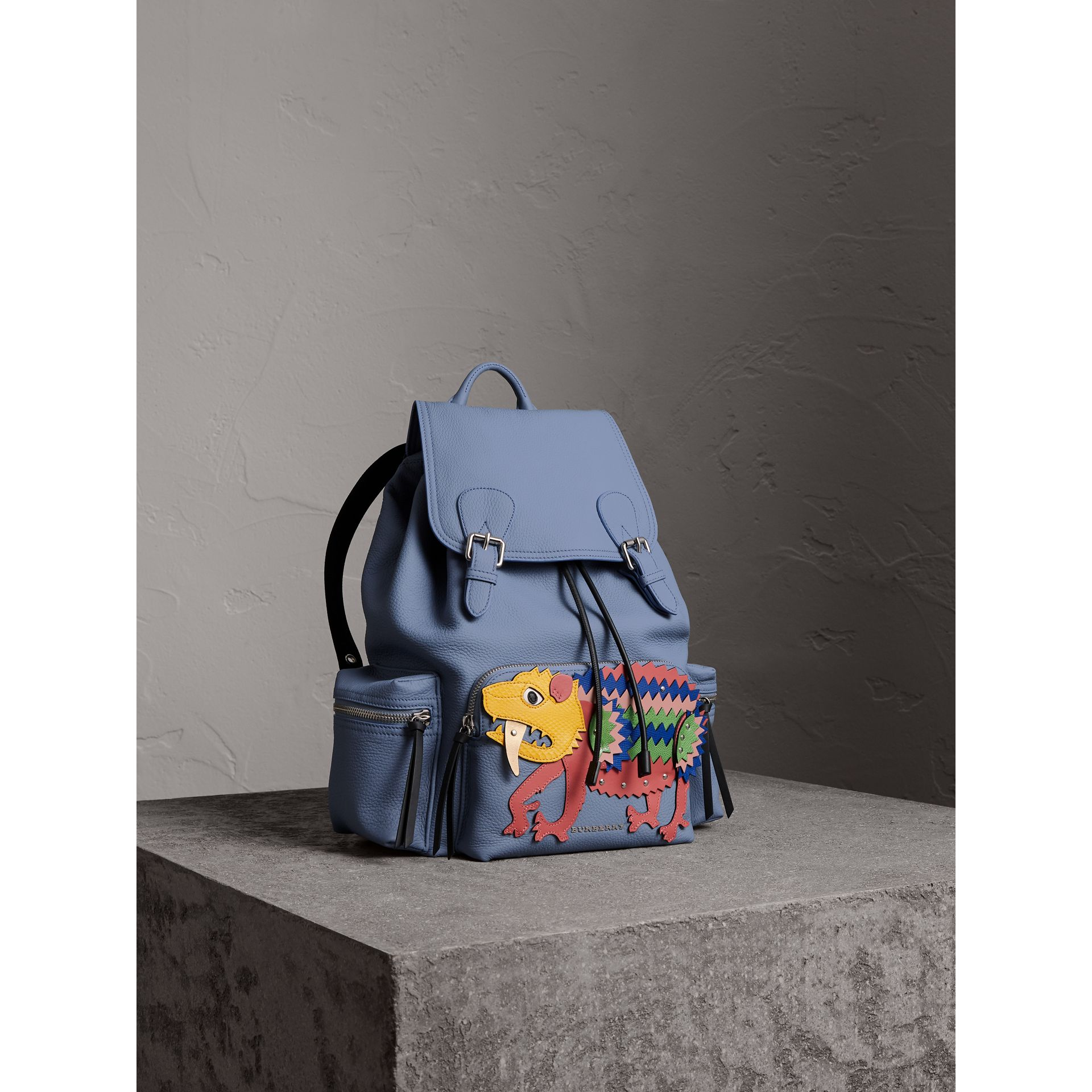 The Large Rucksack in Deerskin with Beasts Motif in Slate Blue - Women | Burberry - gallery image 6