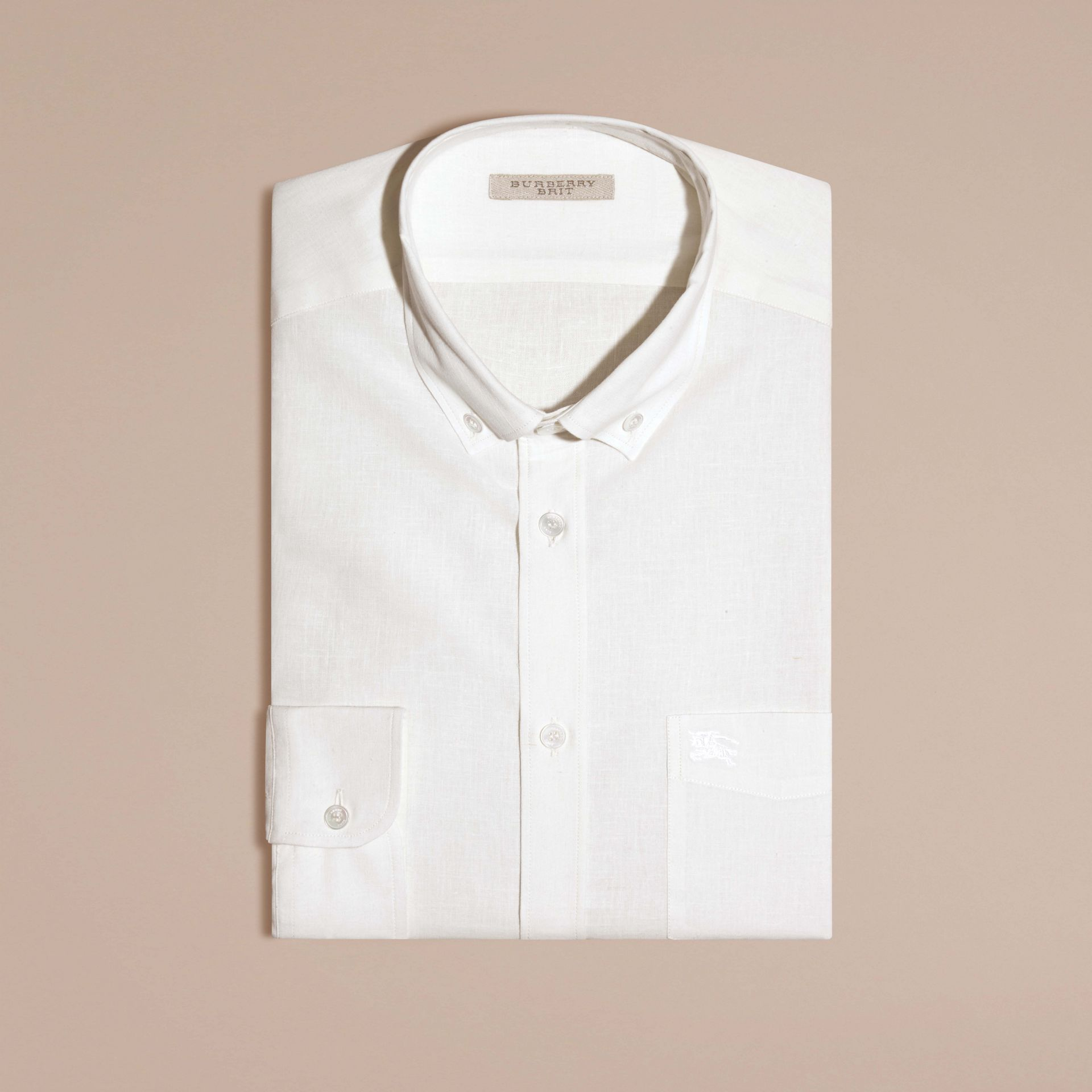 White Button-down Collar Cotton Linen Shirt White - gallery image 3