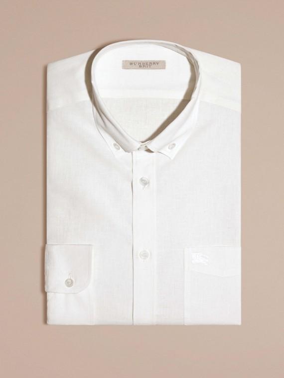 Weiss Hemd aus Baumwolle und Leinen mit Button-down-Kragen Weiss - cell image 2