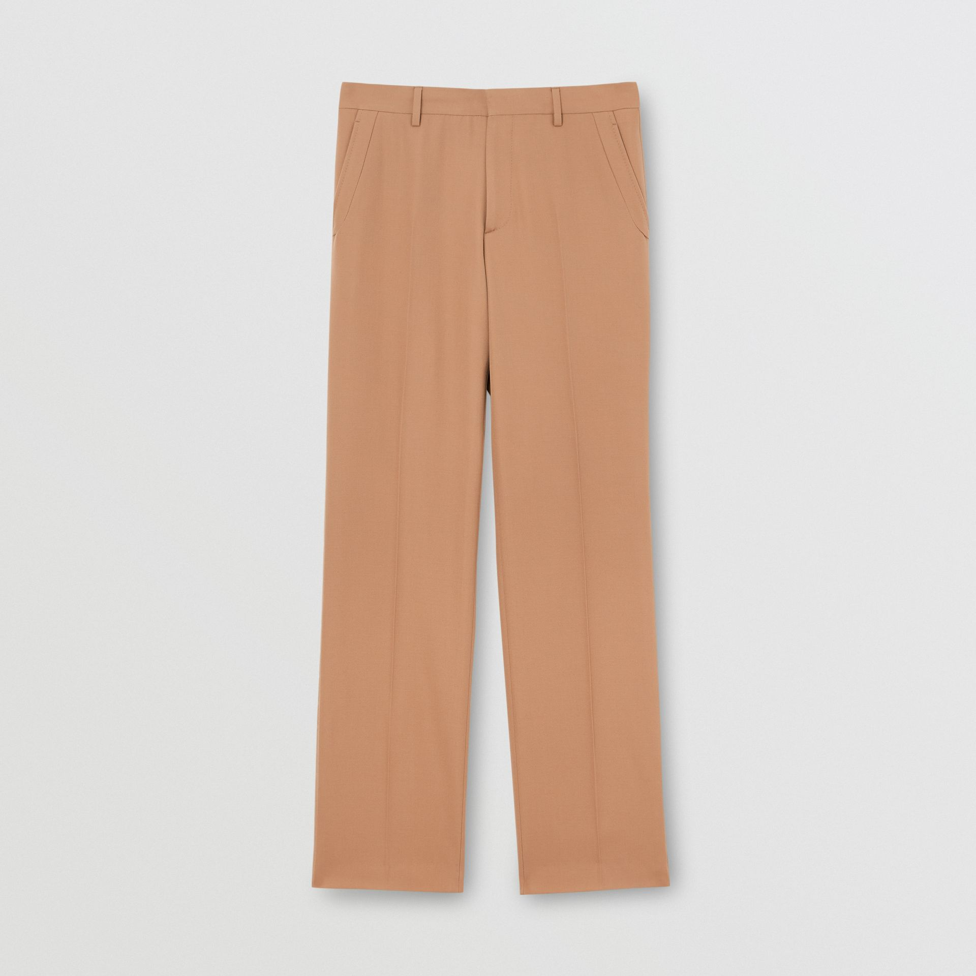 Stripe Detail Wool Tailored Trousers in Warm Camel - Men | Burberry United States - gallery image 3