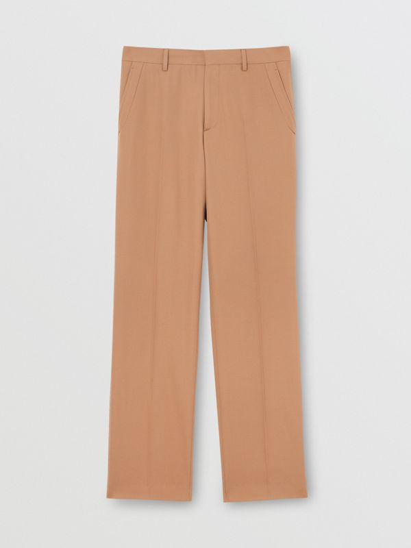 Stripe Detail Wool Tailored Trousers in Warm Camel - Men | Burberry - cell image 3