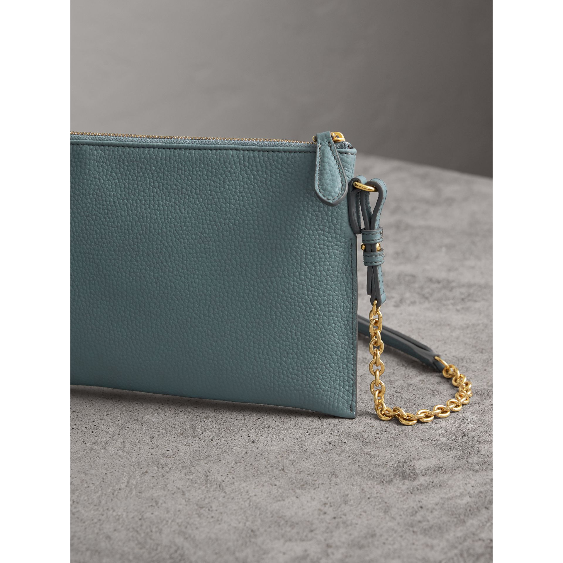 Embossed Leather Clutch Bag in Dusty Teal Blue - Women | Burberry United States - gallery image 4