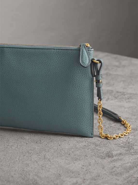 Embossed Leather Clutch Bag in Dusty Teal Blue - Women | Burberry - cell image 2