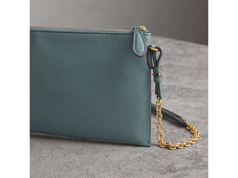 Embossed Leather Clutch Bag in Dusty Teal Blue - Women | Burberry - cell image 4