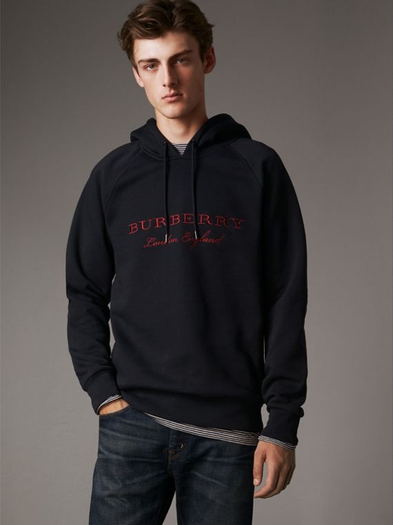 Embroidered Hooded Sweatshirt in Navy - Men | Burberry