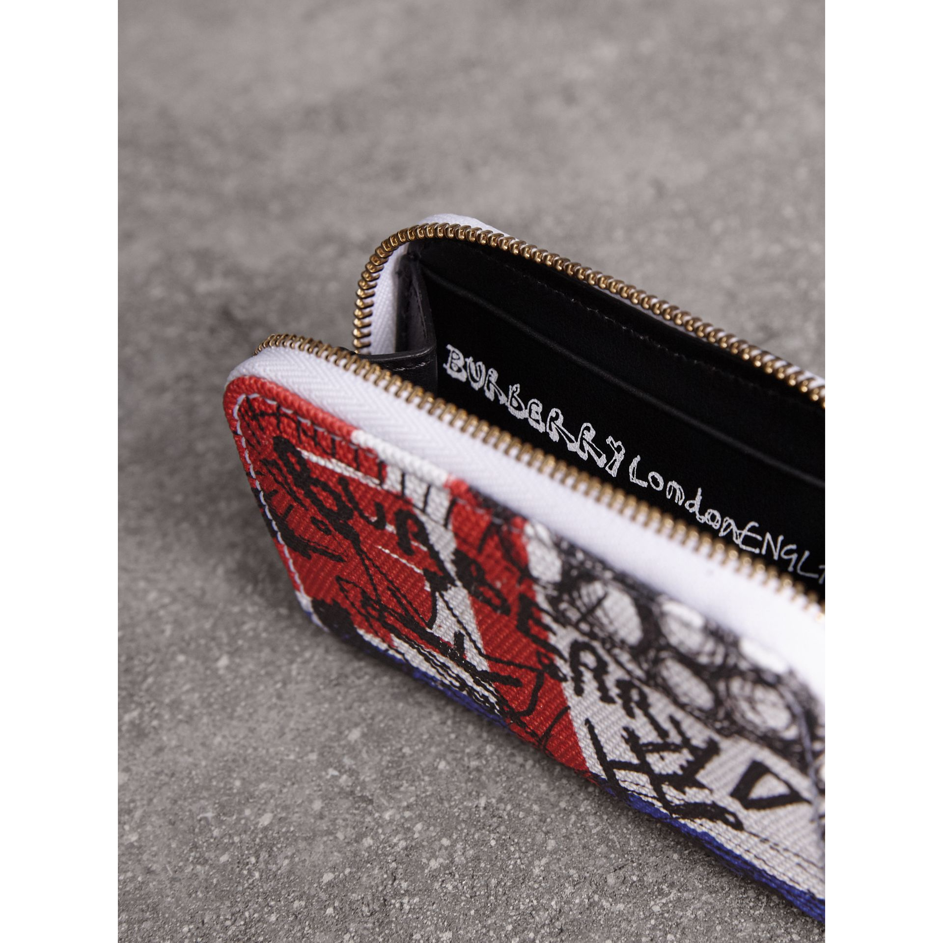 Doodle Print Coated Canvas Ziparound Coin Case in Red/blue | Burberry - gallery image 4