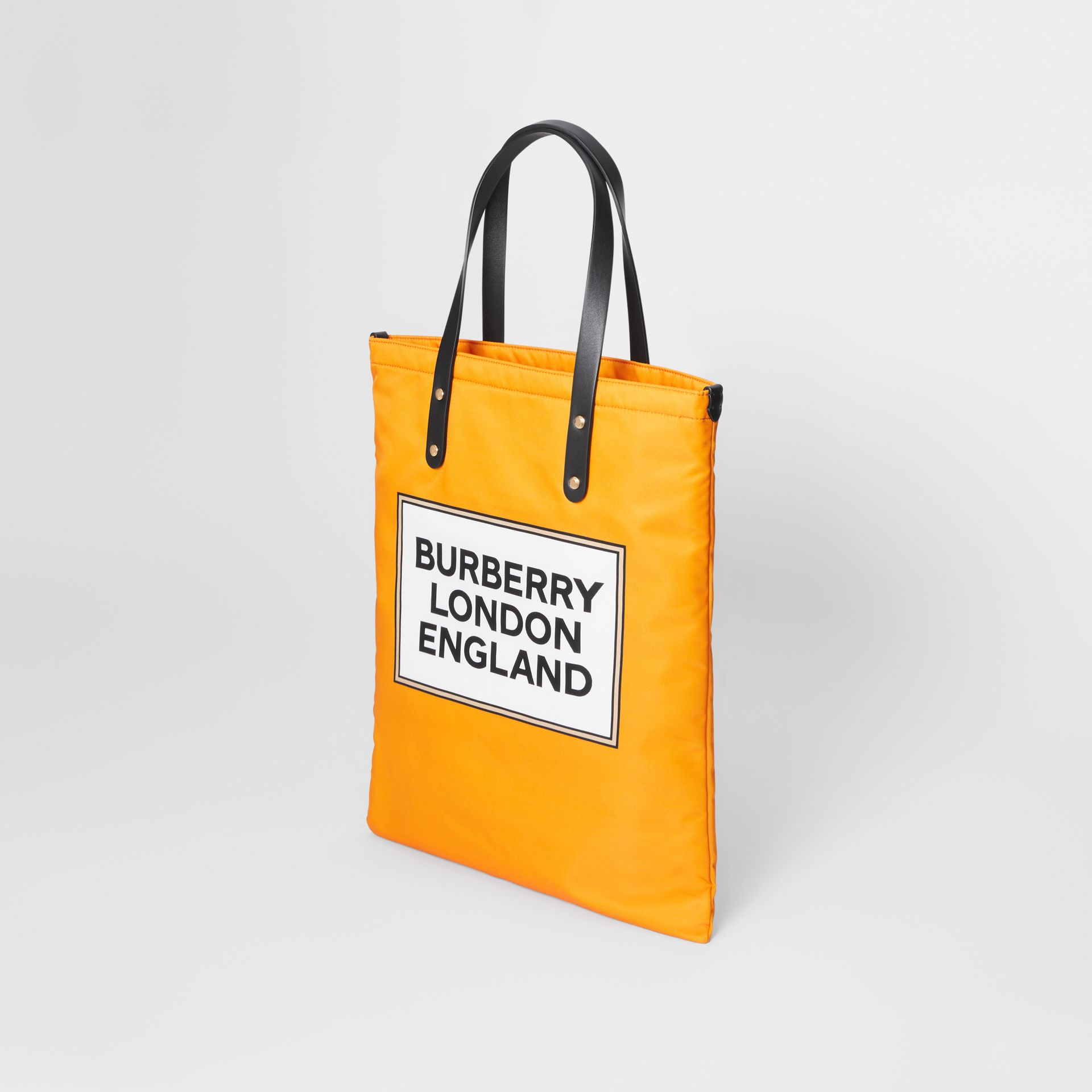 Logo Print Nylon Tote Bag in Orange | Burberry United States - gallery image 4