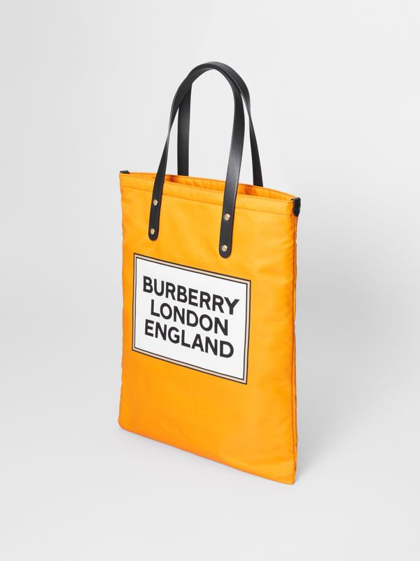 Logo Print Nylon Tote Bag in Orange | Burberry - cell image 2
