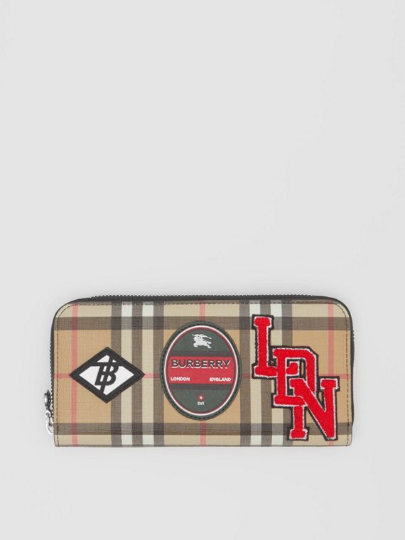 Logo Graphic Vintage Check and Leather Ziparound Wallet in Archive Beige