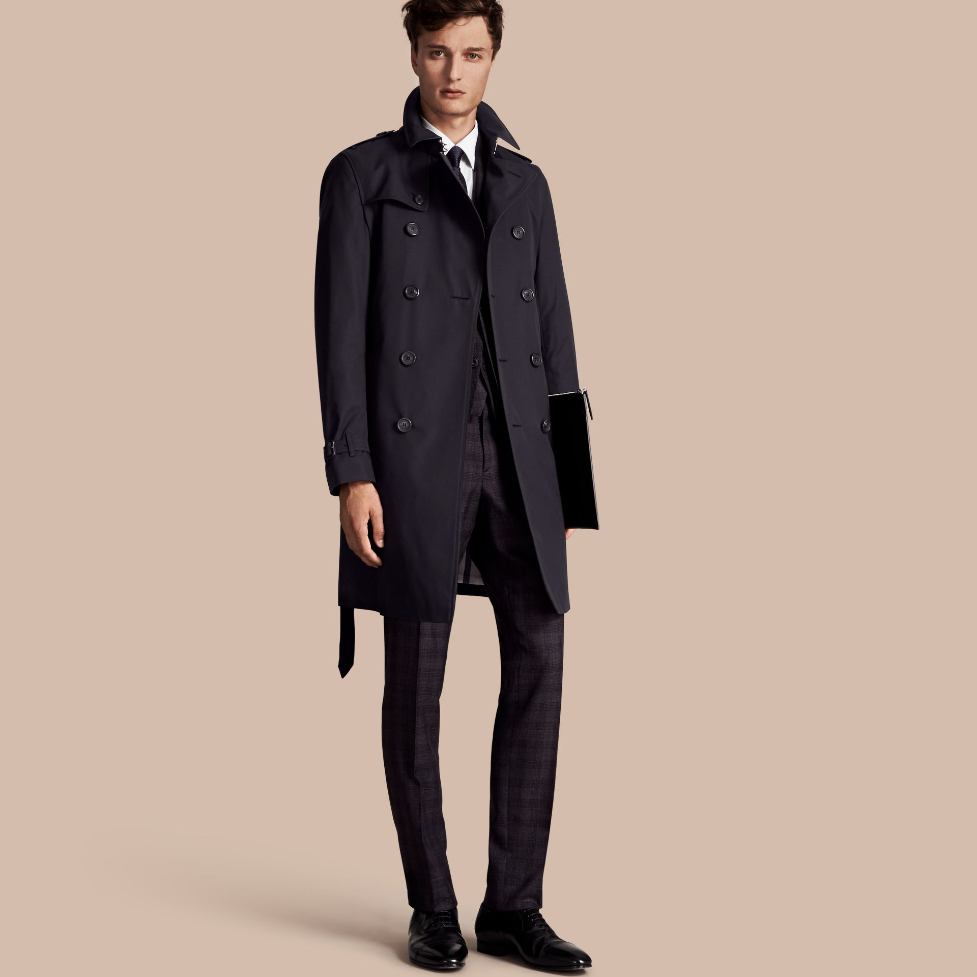 Navy The Chelsea – Long Heritage Trench Coat Navy - gallery image 1