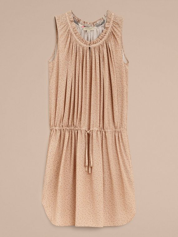 Floral Print Silk Gathered Dress in Light Copper - Women | Burberry - cell image 3