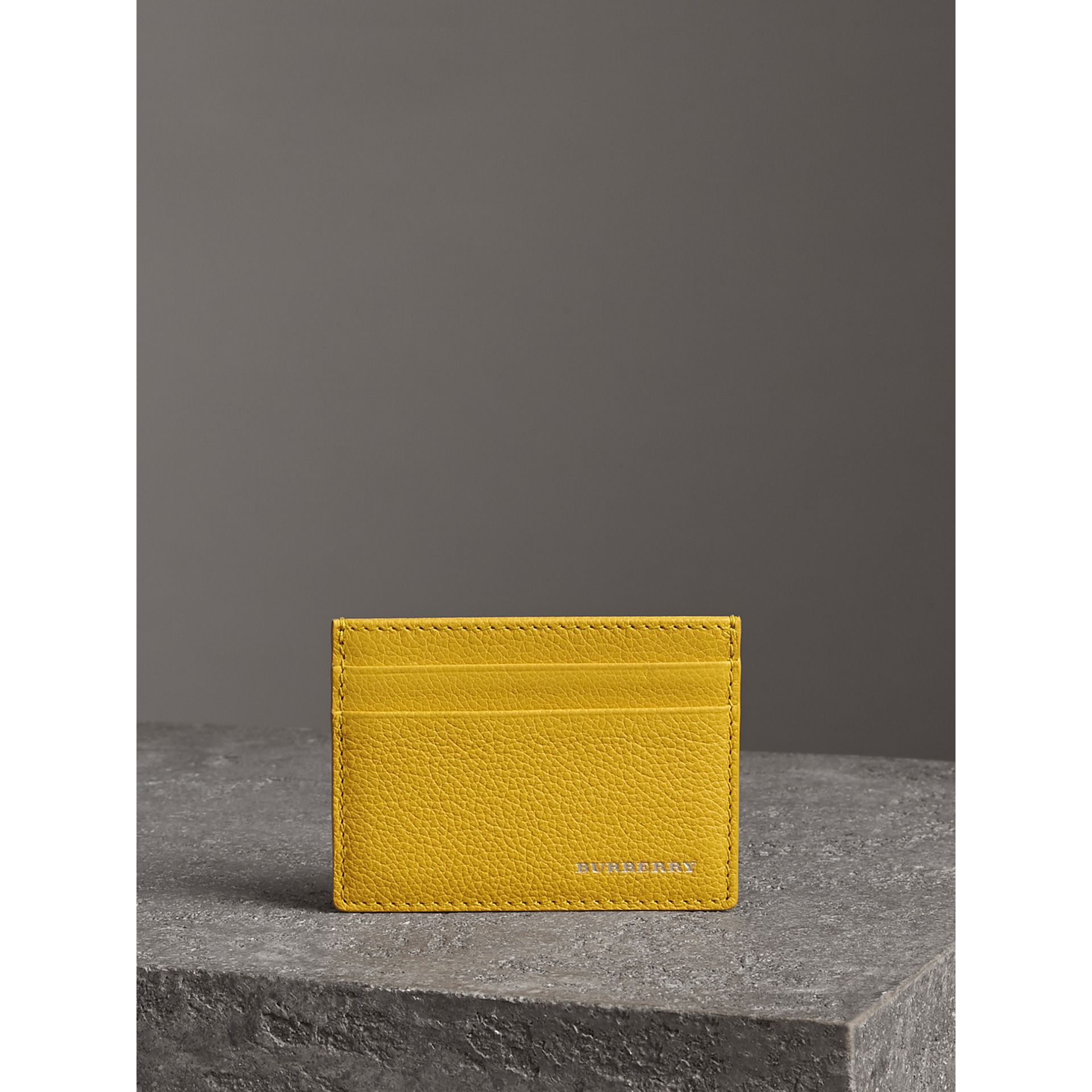 Grainy Leather Card Case in Bright Ochre Yellow | Burberry United Kingdom - gallery image 3