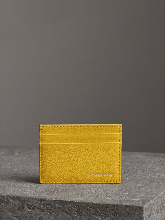 Grainy Leather Card Case in Bright Ochre Yellow | Burberry United Kingdom - cell image 3