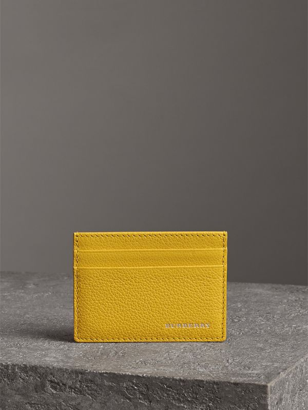 Grainy Leather Card Case in Bright Ochre Yellow | Burberry - cell image 3