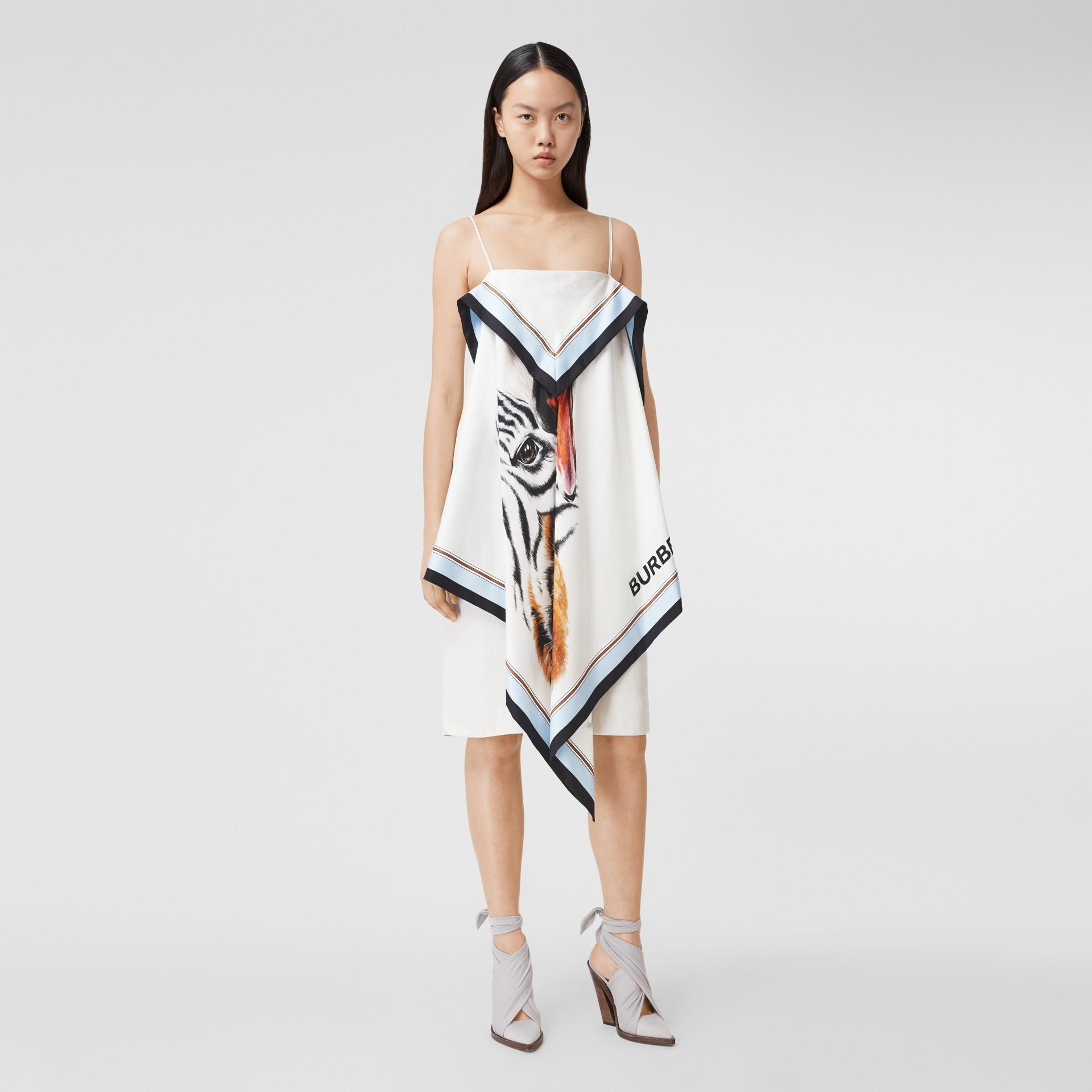 Animalia Print Silk Scarf Dress in Porcelain - Women | Burberry - gallery image 5