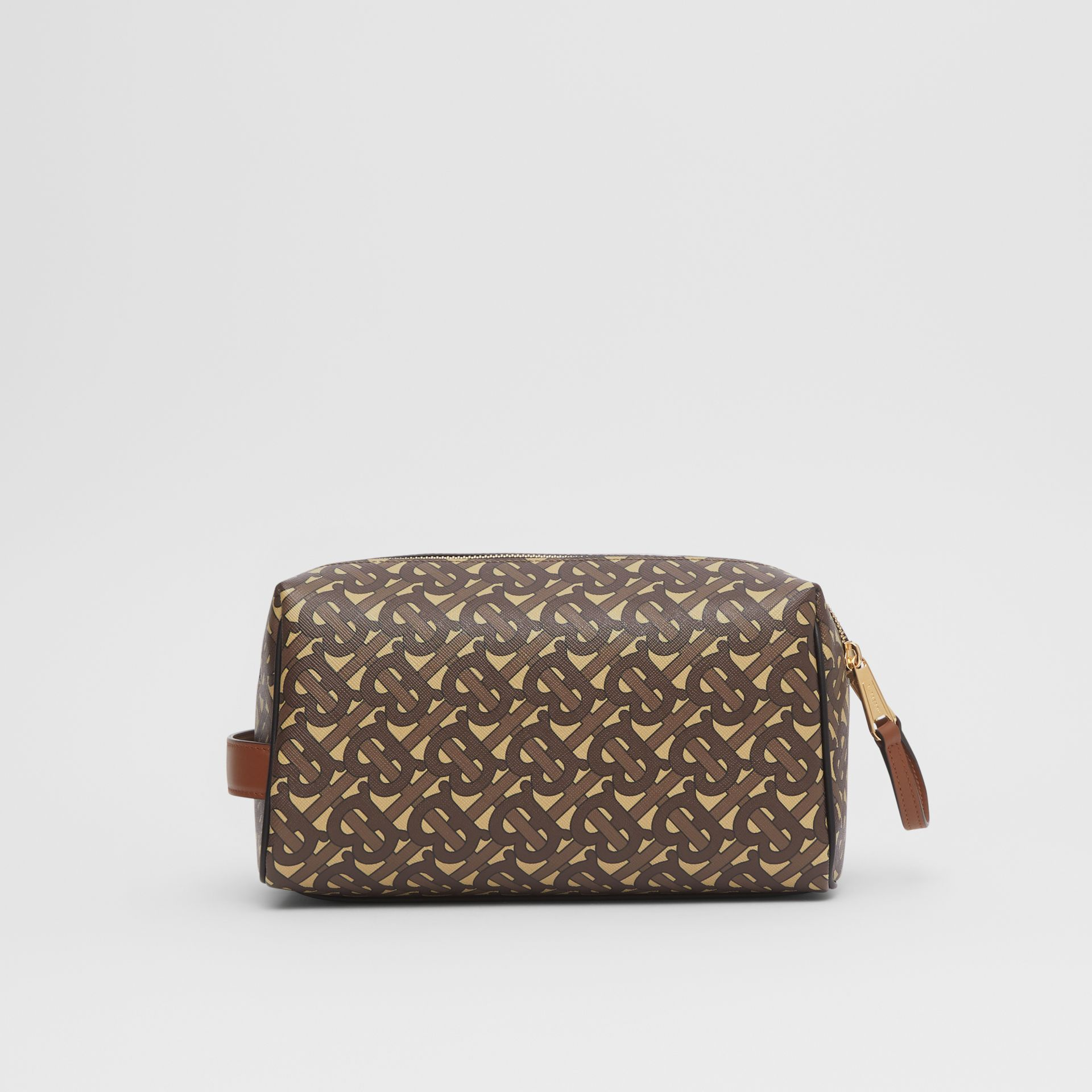 Monogram Print E-canvas Travel Pouch in Bridle Brown | Burberry - gallery image 8