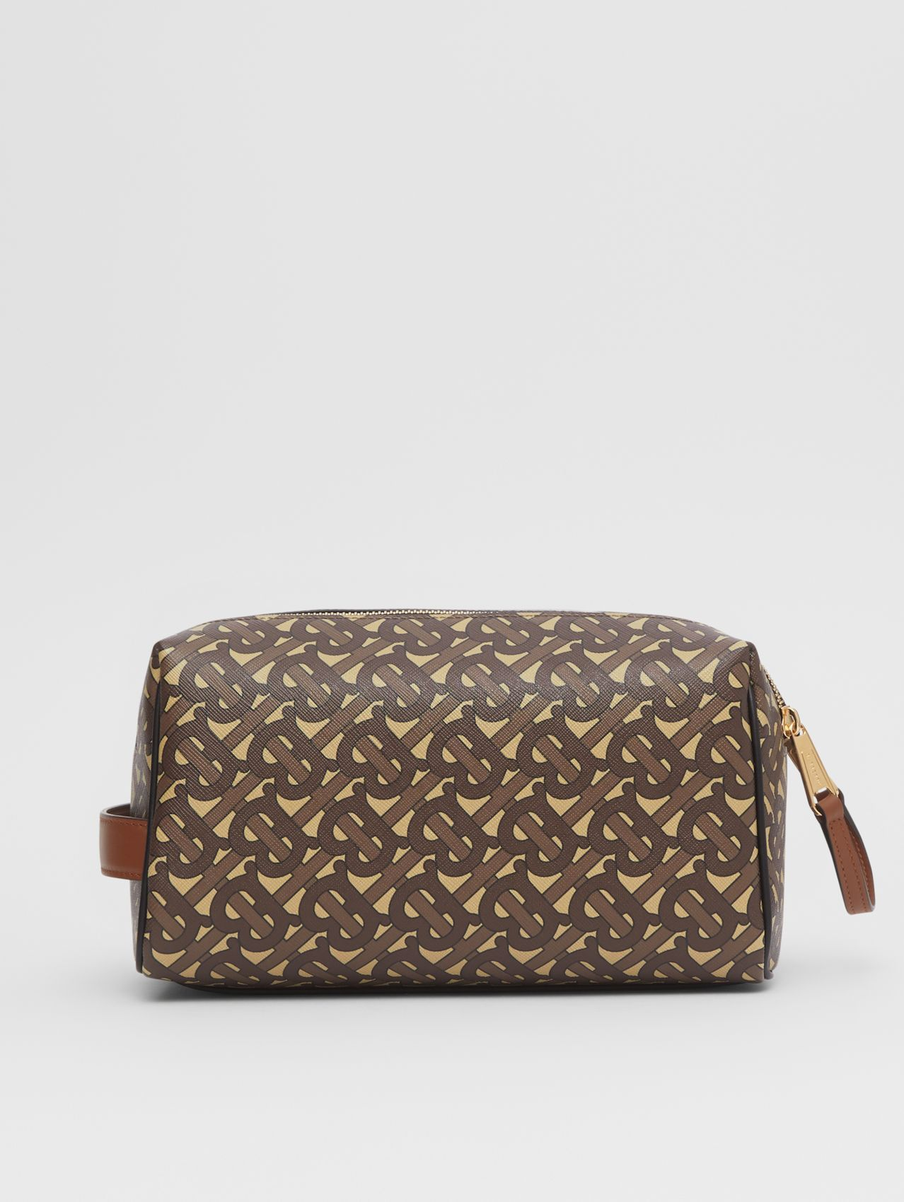Monogram Print E-canvas Travel Pouch in Bridle Brown