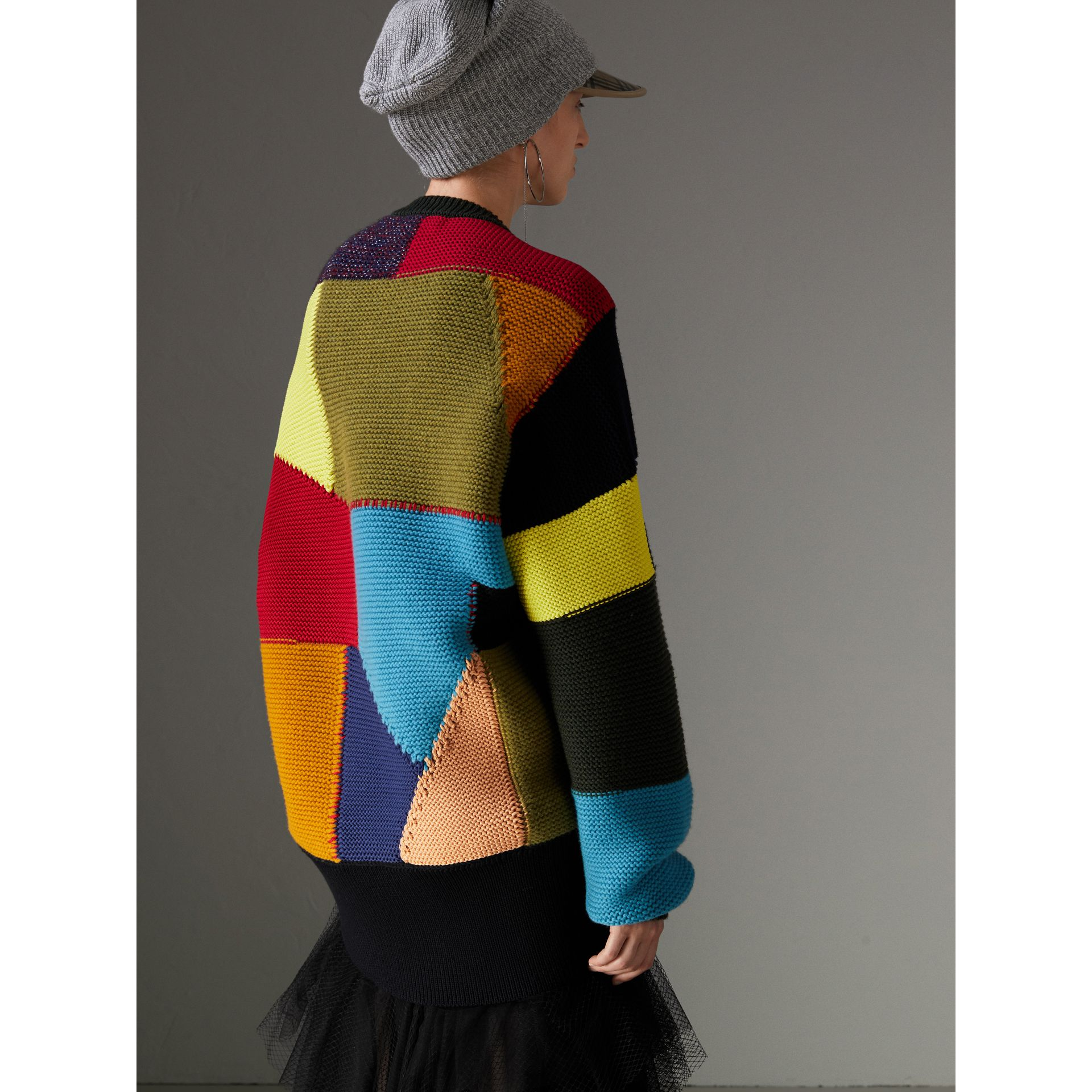 Patchwork Wool Cashmere Blend Sweater in Multicolour - Women | Burberry United Kingdom - gallery image 2
