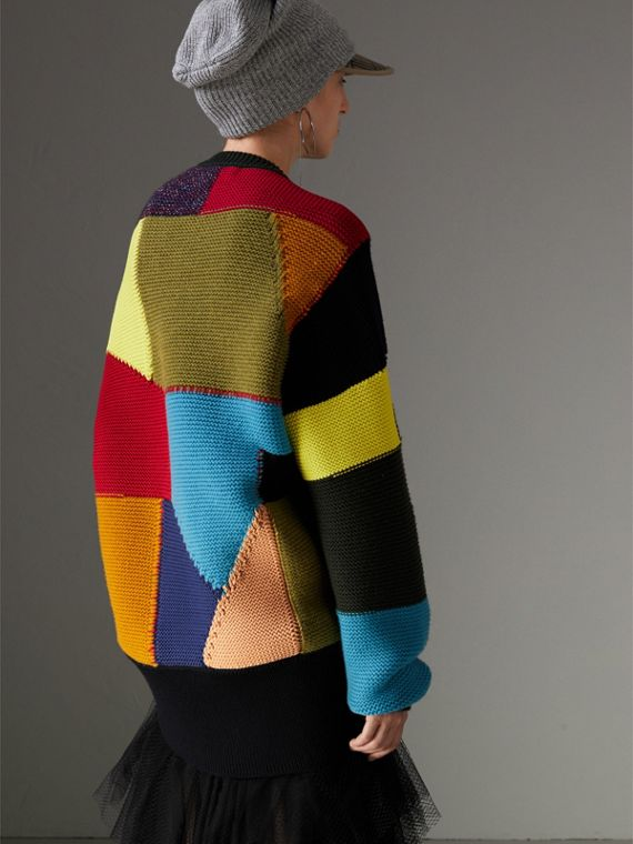 Patchwork Wool Cashmere Blend Sweater in Multicolour - Women | Burberry United Kingdom - cell image 2