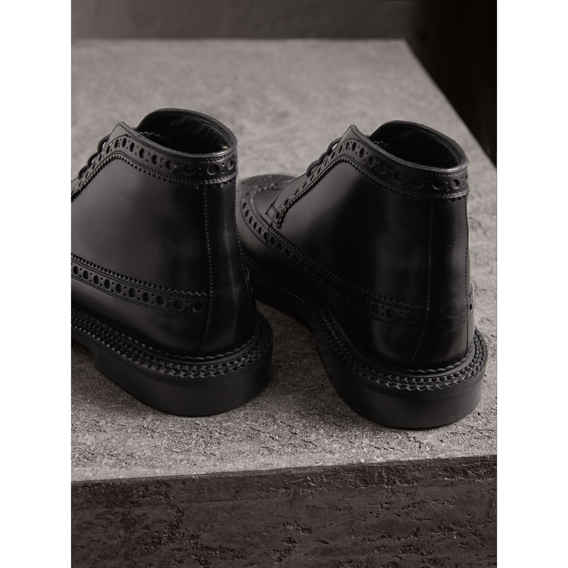 Leather Brogue Boots in Black - Men | Burberry Singapore - gallery image 3