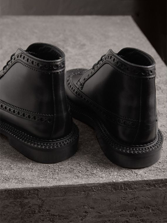Leather Brogue Boots in Black - Men | Burberry Singapore - cell image 2