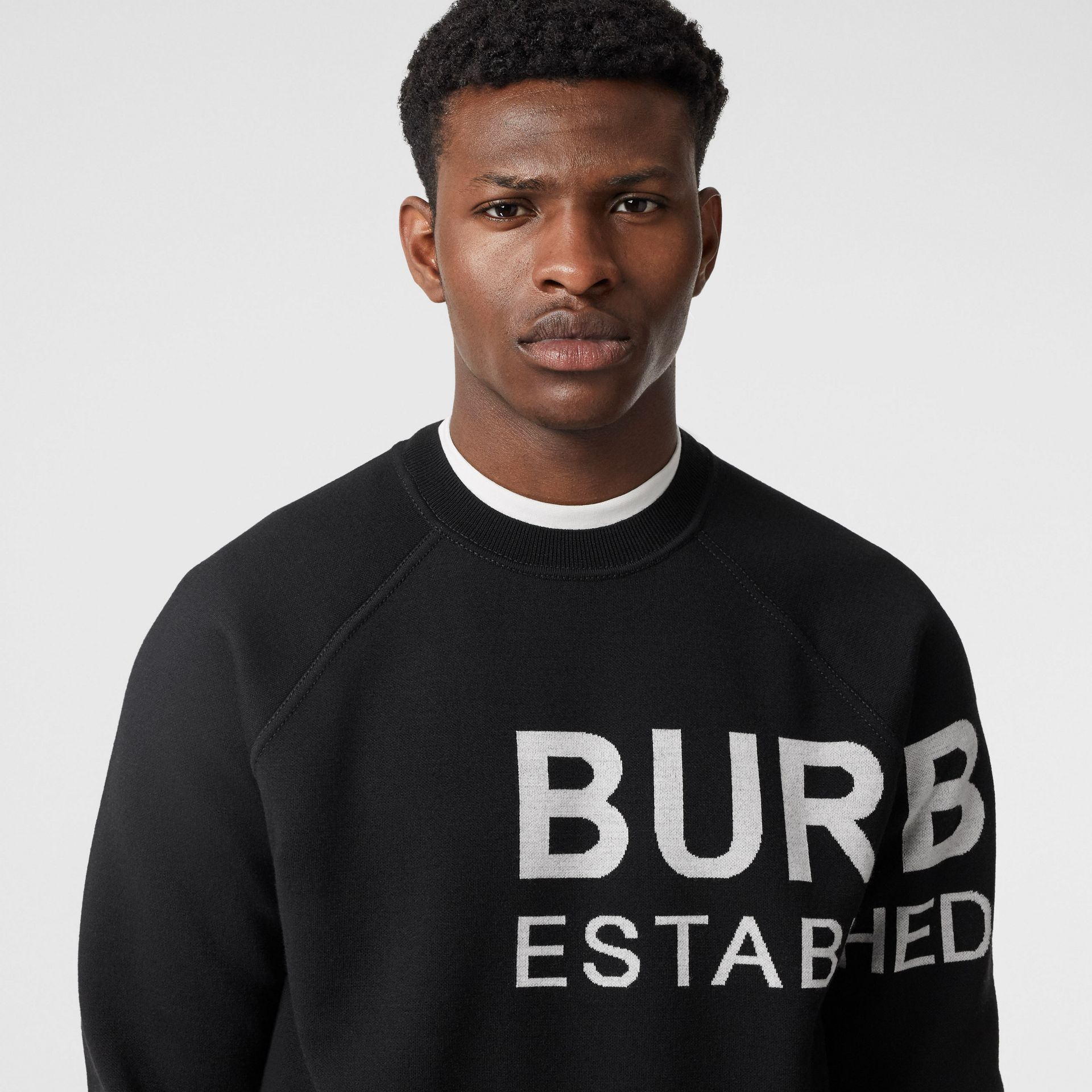Horseferry Intarsia Merino Wool Blend Sweater in Black - Men | Burberry - gallery image 1