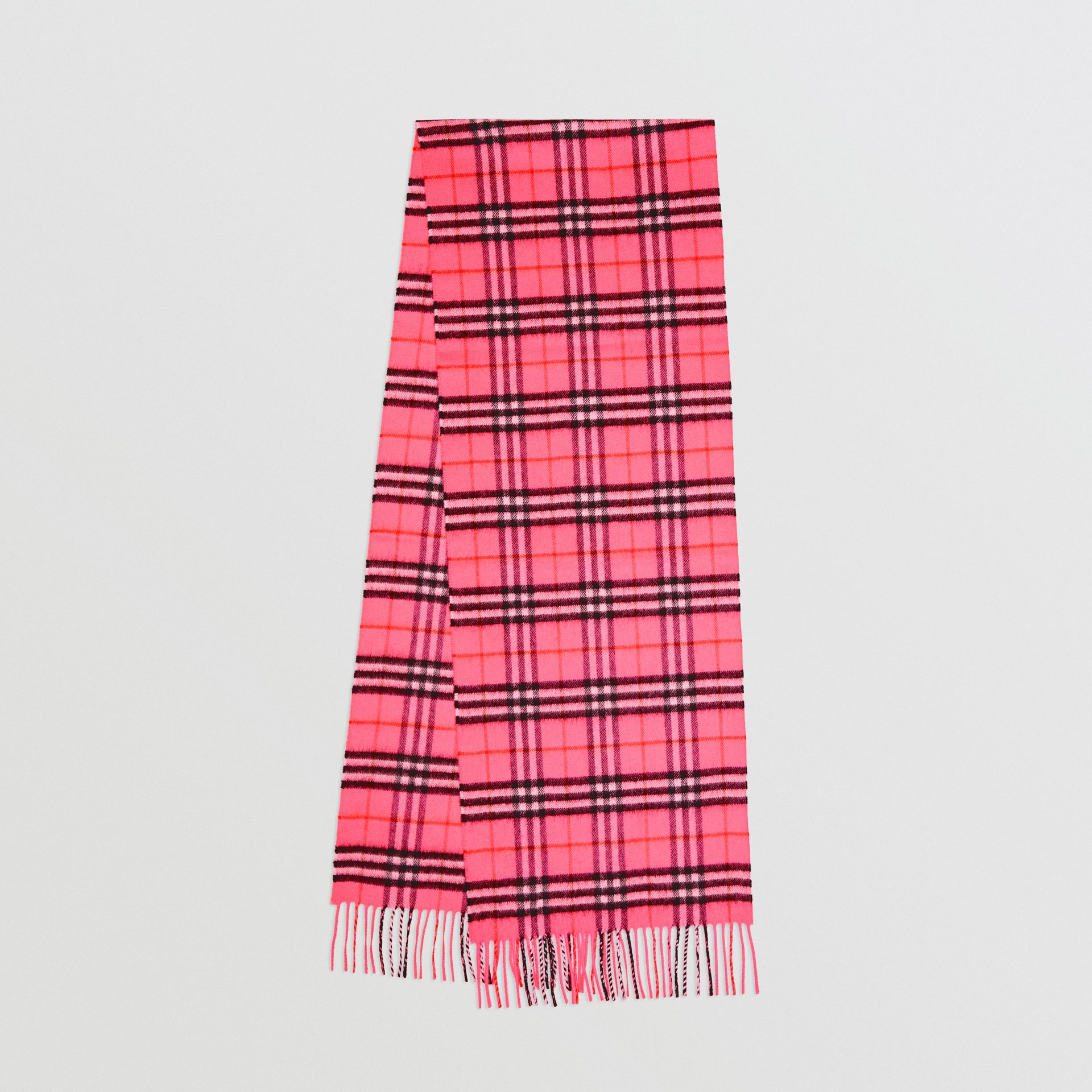 The Classic Vintage Check Cashmere Scarf in Bright Pink | Burberry United States - gallery image 0