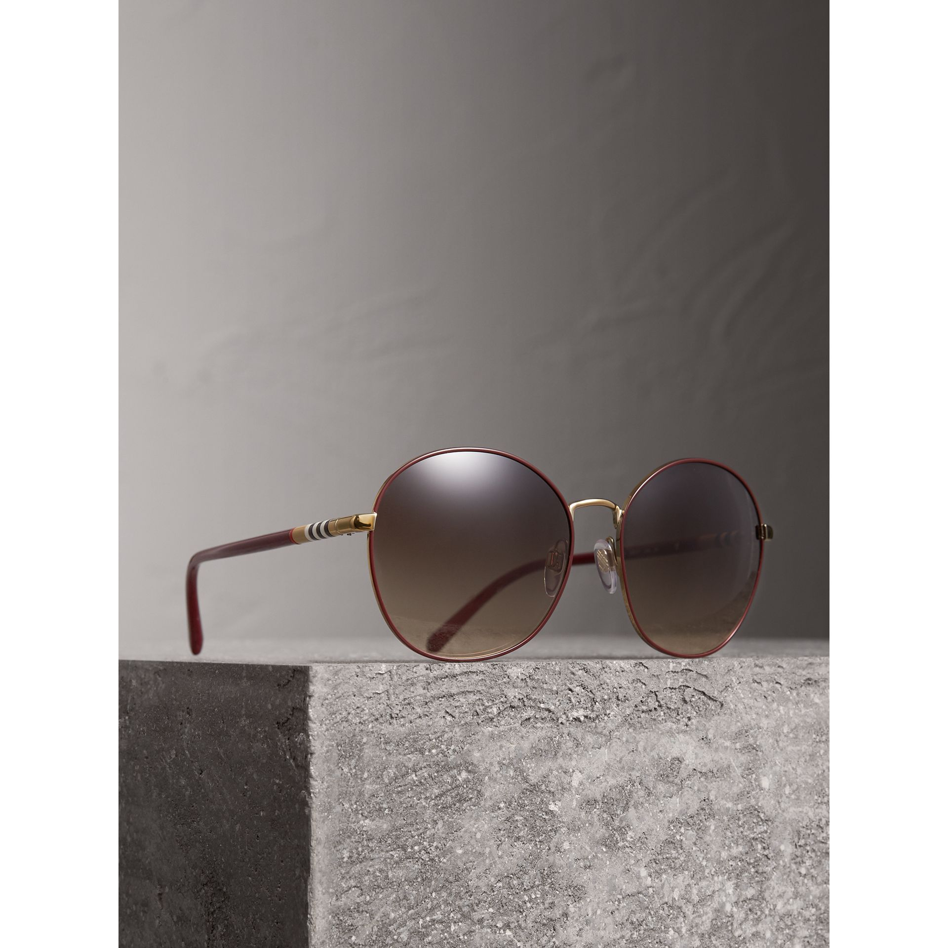 Check Detail Round Frame Sunglasses in Burgundy - Women | Burberry United Kingdom - gallery image 1