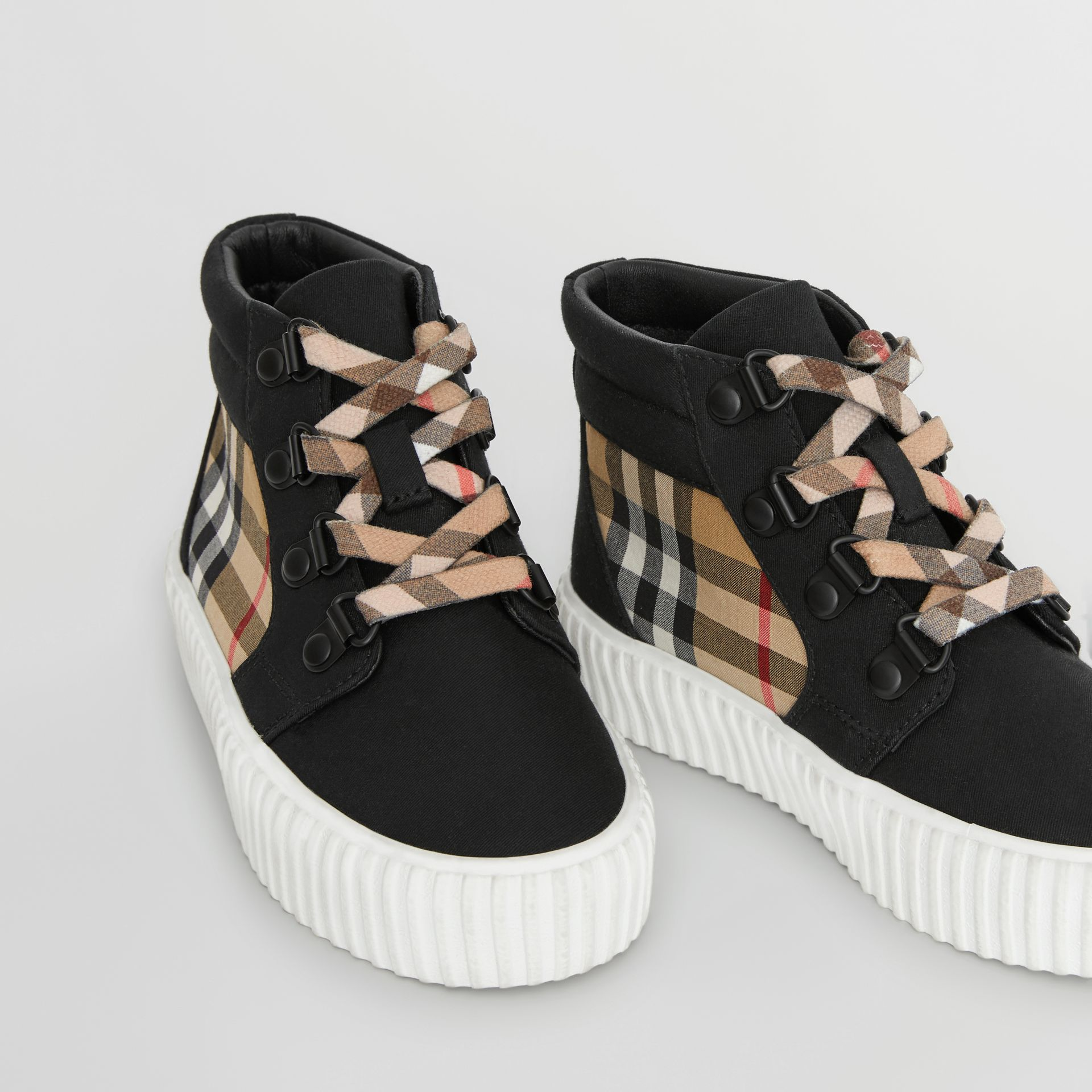 Vintage Check Detail High-top Sneakers in Black/antique Yellow - Children | Burberry Singapore - gallery image 1