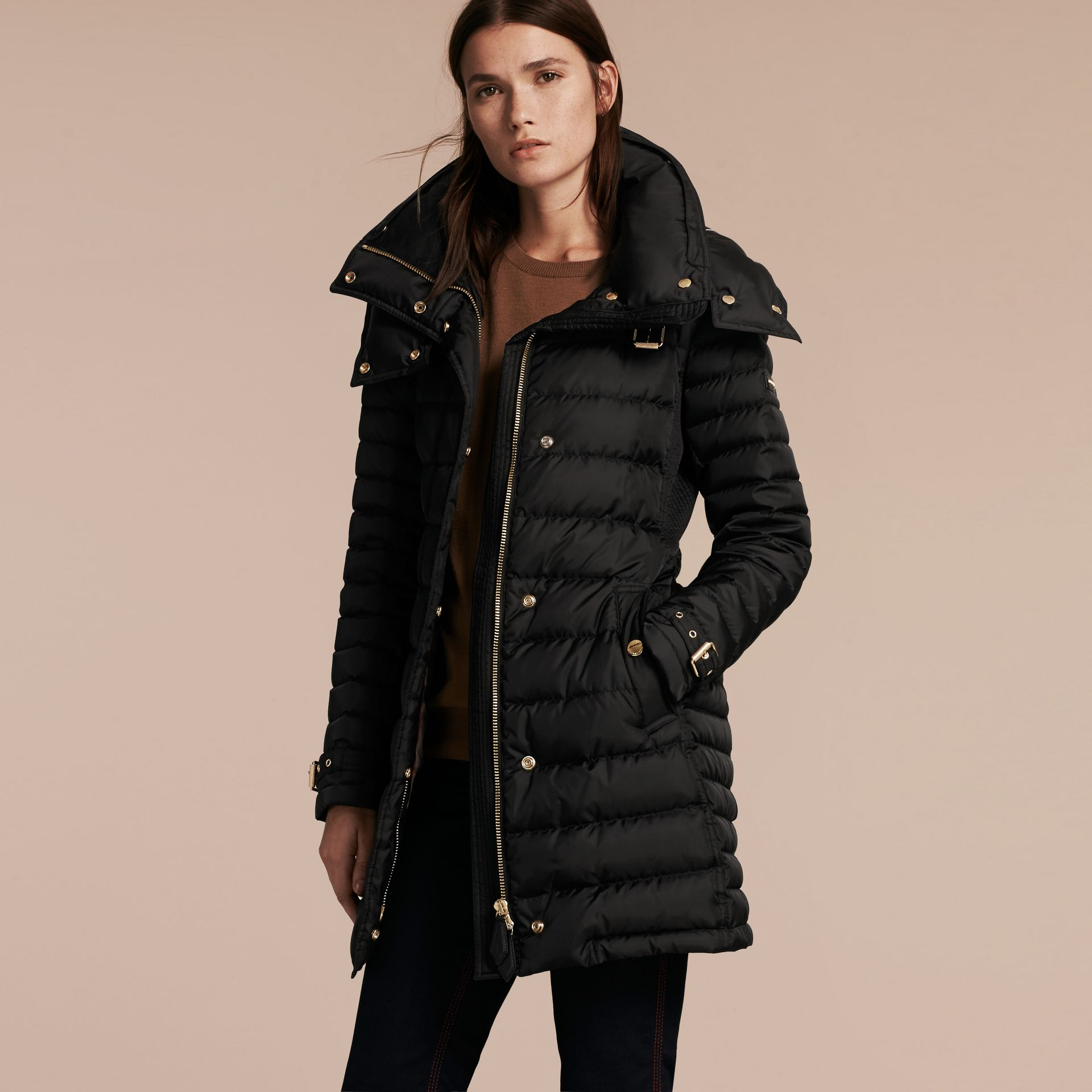 Black Down-filled Puffer Coat with Packaway Hood - gallery image 7