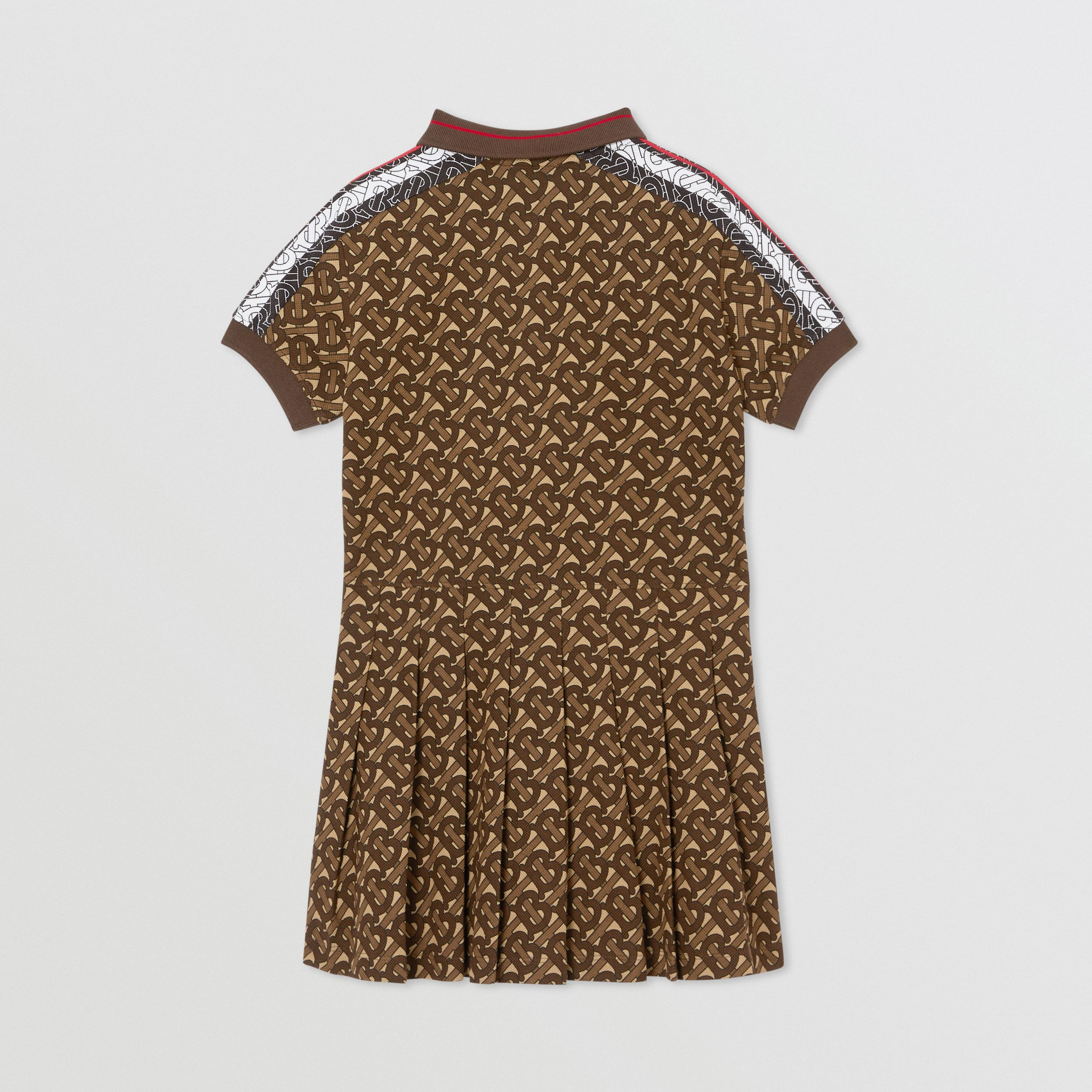 Monogram Stripe Print Cotton Polo Shirt Dress in Bridle Brown | Burberry - 4