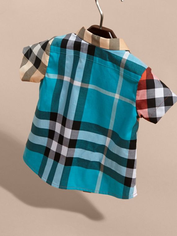 Short-sleeved Contrast Check Cotton Shirt in New Classic | Burberry - cell image 3