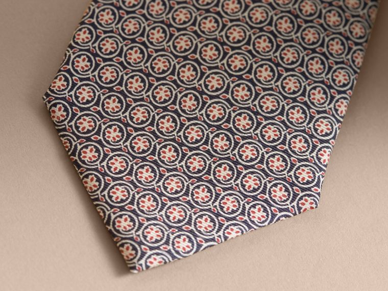 Modern Cut Floral Print Silk Tie Rose Pink - cell image 1