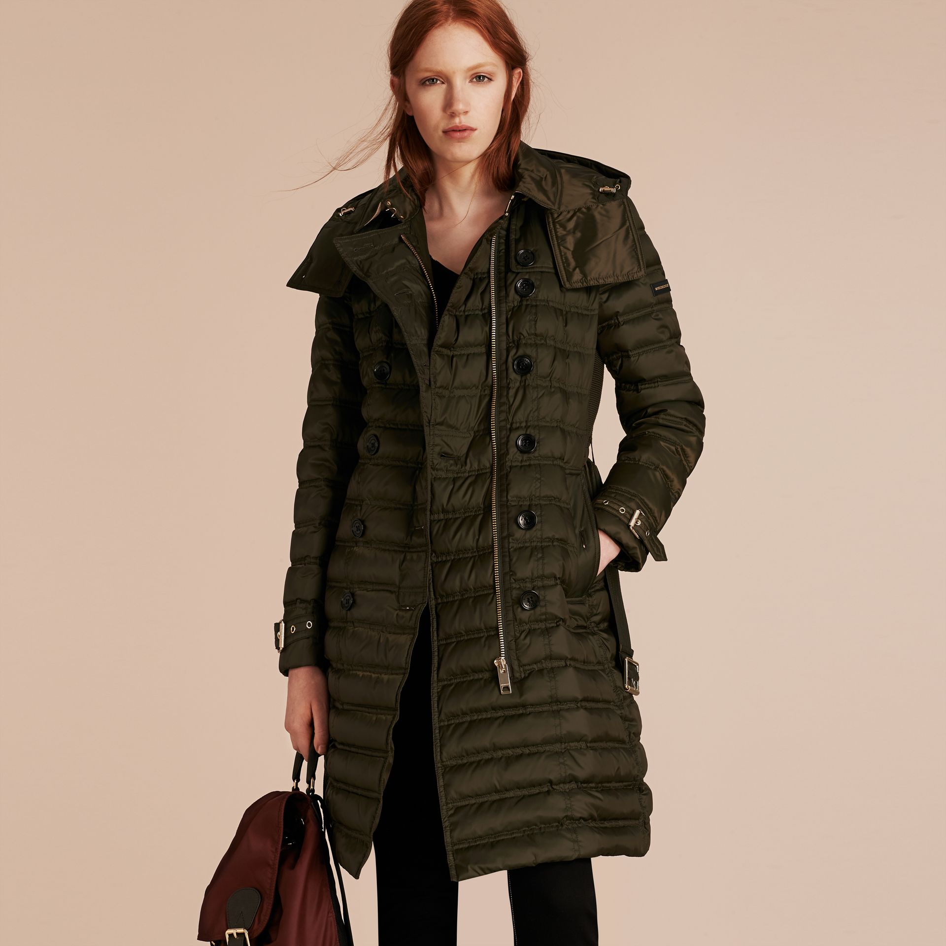 Down-filled Puffer Coat with Detachable Hood in Dark Olive - gallery image 7