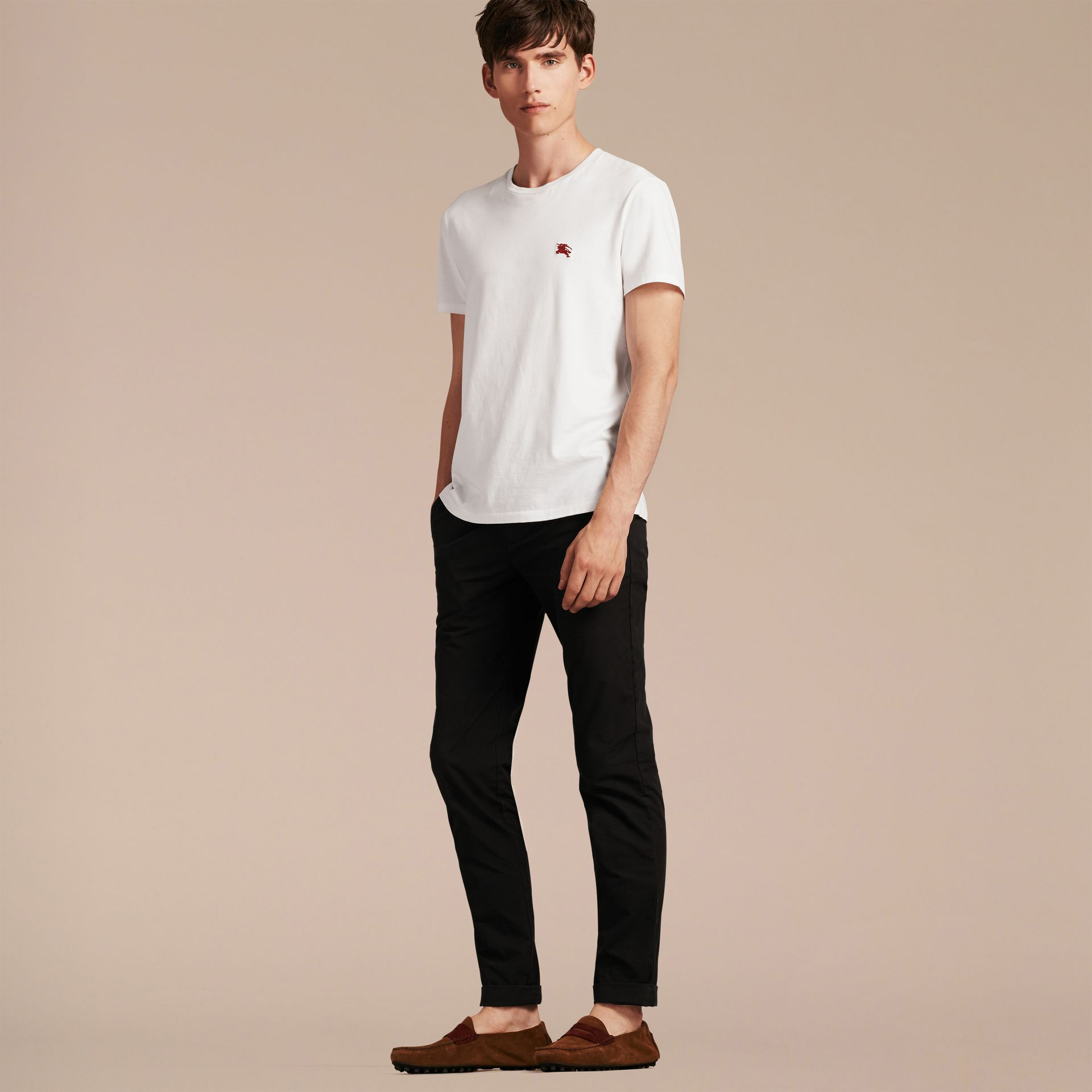 Slim Fit Cotton Poplin Chinos in Black - Men | Burberry - gallery image 6