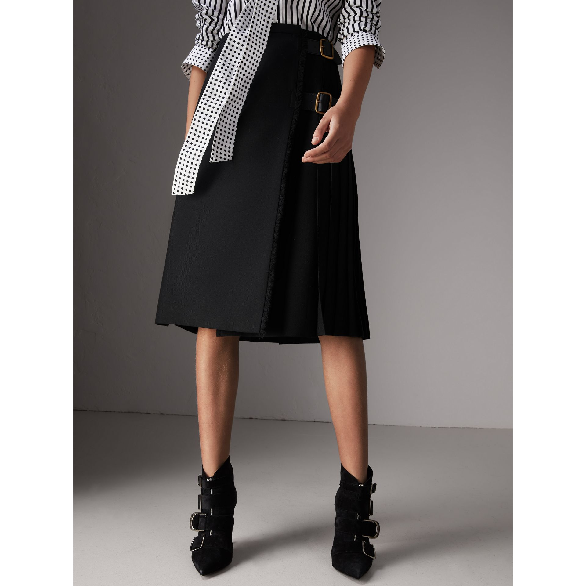 Wool Twill Kilt in Black - Women | Burberry - gallery image 4