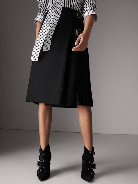 Wool Twill Kilt in Black
